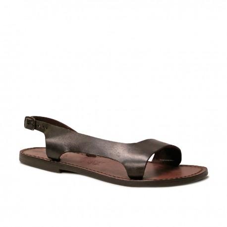 Sandalias de cuero marrón para las mujeres hecho a mano en Italia