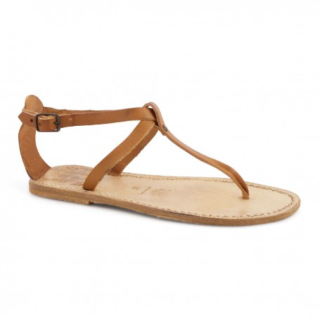 Handmade t-strap flat sandals in tan vintage leather
