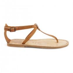 Sandale tong en cuir marron effet vintage pour femme