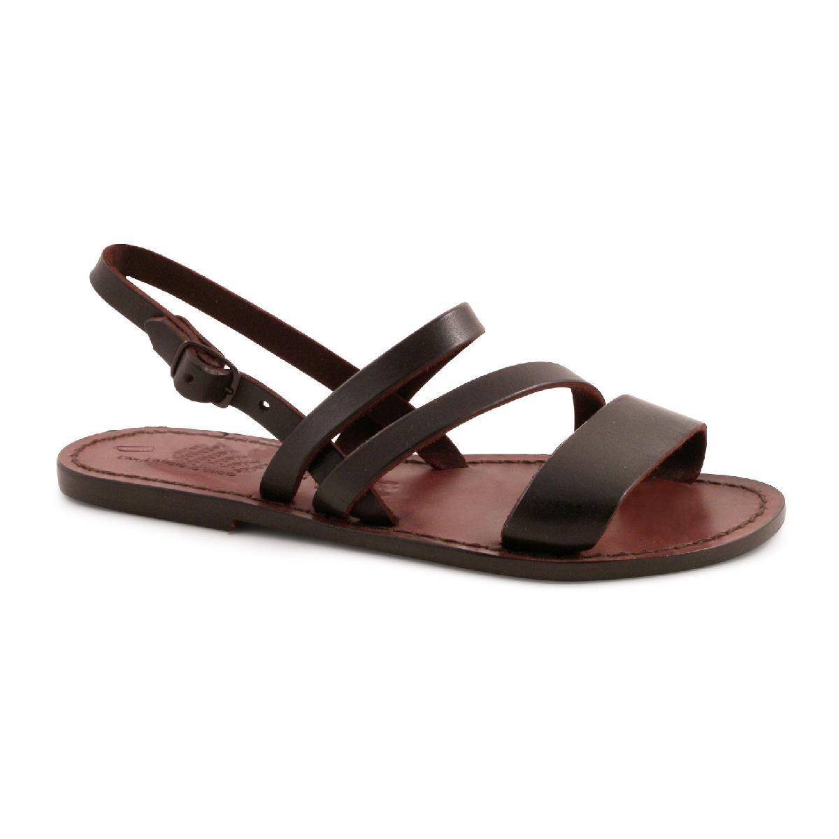 flache sandalen f r damen aus dunkelbraunem leder. Black Bedroom Furniture Sets. Home Design Ideas