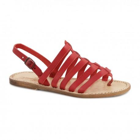 Sandals tongs femme en vintage cuir