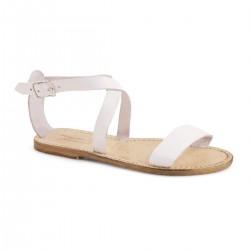 Sandali bassi in pelle da donna con effetto Vintage