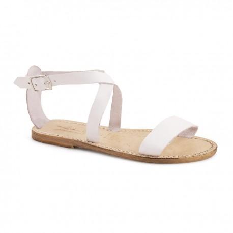 Sandalias planas de cuero para mujeres con efecto vintage