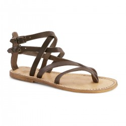 Sandali gladiatore donna in pelle vintage color fango