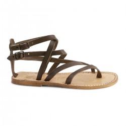 Sandales gladiateur femme en vintage cuir coulor boue