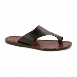 Brown leather thong sandals for women handmade