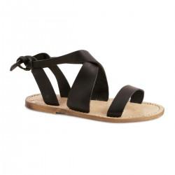 Sandalias de las mujeres en cuero negro hecho a mano en Italia