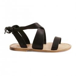Sandali donna fatti a mano in pelle nero vintage
