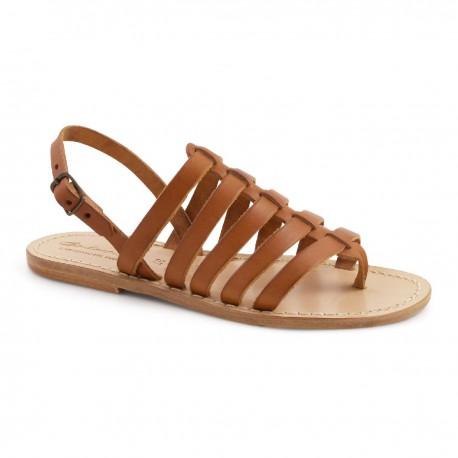 Gold flache Sandalen aus echtem Leder handgefertigt in Italien