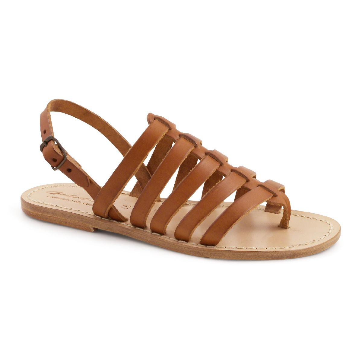 c8da1c70946 Gold flat sandals in real leather Handmade in Italy. Loading zoom