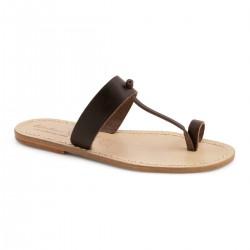 Sandals tong cuir homme marron fait à la main en Italie