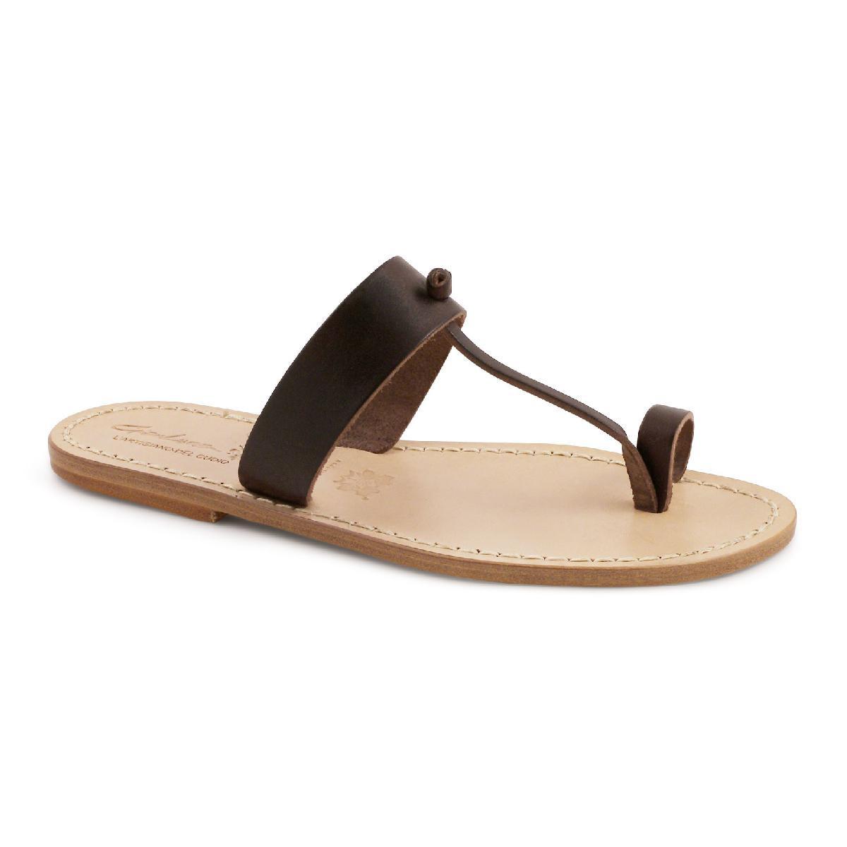 7719048ad626 Braune Flip-Flop-Sandalen aus Leder in Italien von Hand gefertigt ...