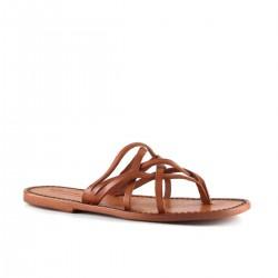 Nu pieds orange en cuir pour femme travaillées à la main en Italie
