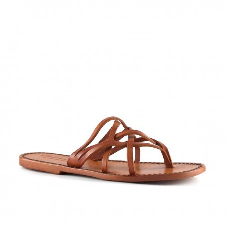 Handmade orange leather womens strips thongs slides and leather sole