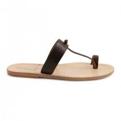 Braune Leder Thong Sandalen handgefertigt in Italien