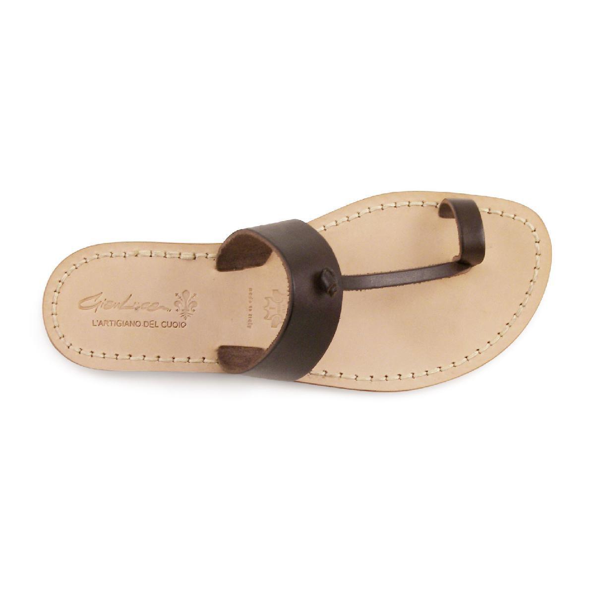sandals tong cuir homme marron fait la main en italie gianluca l 39 artisan du cuir. Black Bedroom Furniture Sets. Home Design Ideas