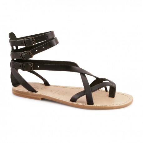 Sandales gladiateur pour femme en cuir noir artisanales