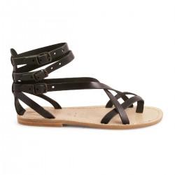 Sandalias gladiadoras mujer en cuero negro artesanía