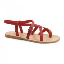 Sandalias de cuero rojas de las señoras hechos a mano en Italia
