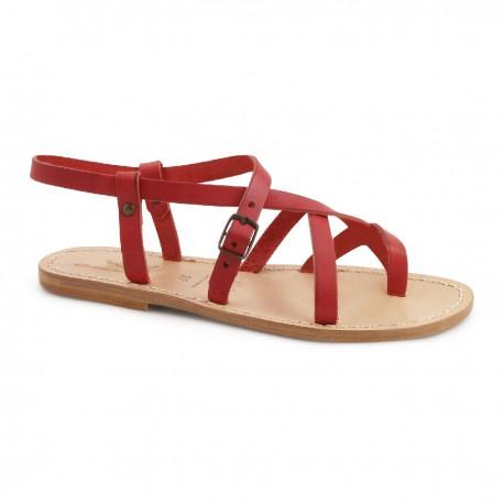 Sandali in pelle rosso da donna fatti a mano in Italia