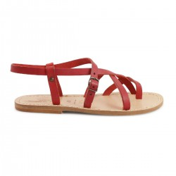 Red leather flat sandals for women handmade in Italy