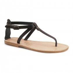 Handmade t-strap leather flat sandals for women