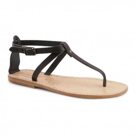 Thong Sandalen Handwerk Schwarze Lederstiefel