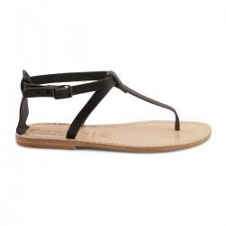 Hand gefertigte Damen-Sandalen mit T-Steg aus schwarzem Leder