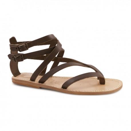 Sandali gladiatore donna in pelle marrone artigianali