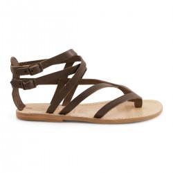 Damen-Sandalen im Gladiator-Stil aus braunem Leder
