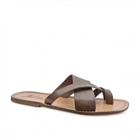 Riemen-Sandalen im Vintage-Look aus ockerfarbenem Leder in Italien von Hand gefertigt