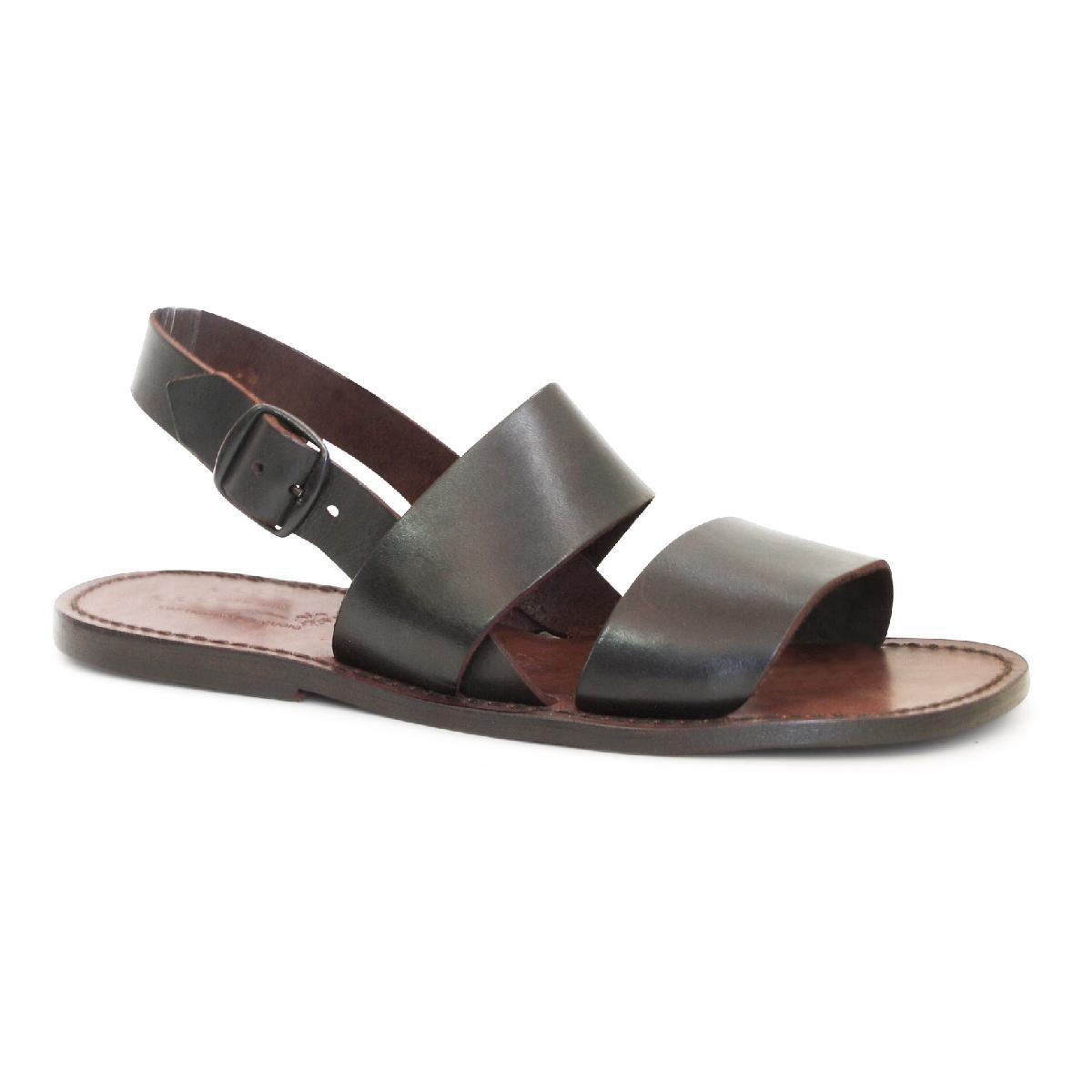 sandales franciscains en cuir marron pour homme gianluca l 39 artisan du cuir. Black Bedroom Furniture Sets. Home Design Ideas