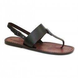 Thong sandals for women handmade in brown leather