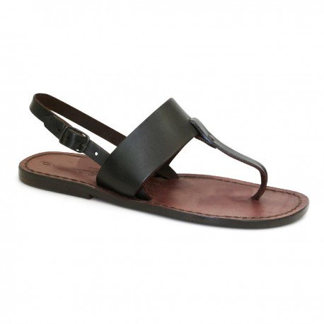Zehentrenner leder braun damen sandalen handgefertigt