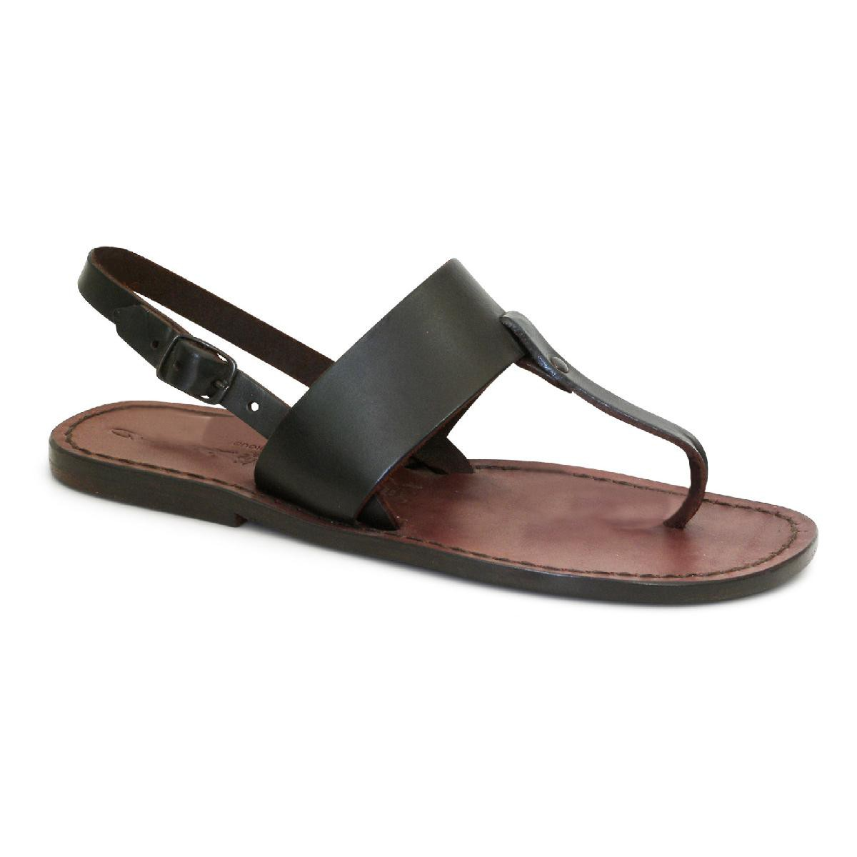 d8b09dfb5e4 Thong sandals for women handmade in brown leather