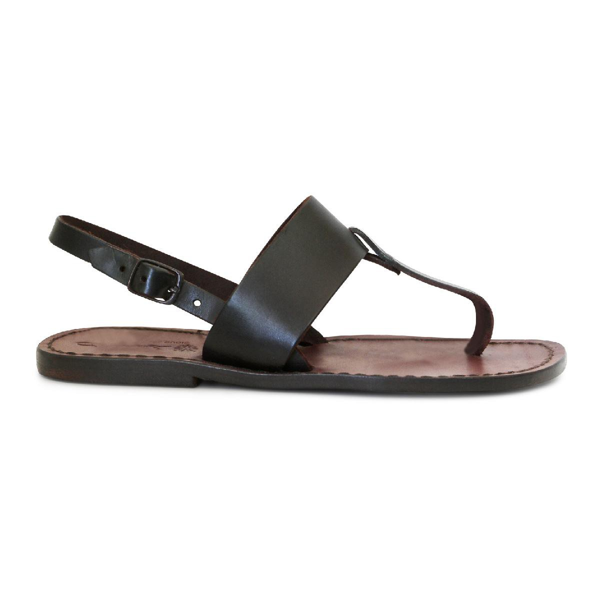 Wonderful Handmade Thong Sandals For Women Dark Brown Leather | Gianluca - The Leather Craftsman