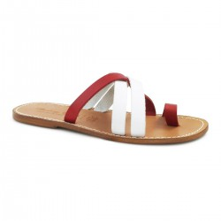 Men's flip flop sandals handmade in red and white leather