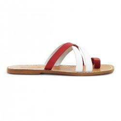 Zehentrenner herren leder rot und weiß sandalen