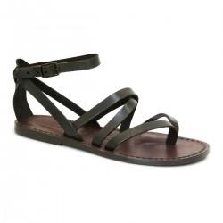 Hand gefertigte Damen-Sandalen aus dunkelbraunem Leder