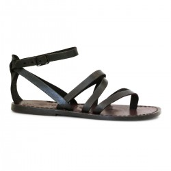 Italian strappy sandals women handmade in brown leather