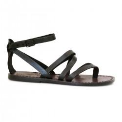 Scarpe alla schiava artigianali in pelle marrone