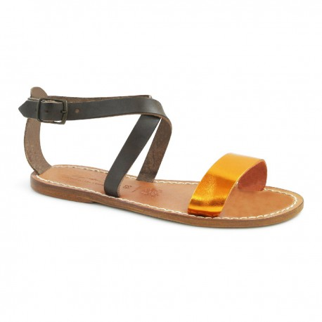Sandales en cuir bas fait main en cuir bicolore