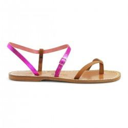 Nu-pieds en cuir bicolore cuir et fuchsia pour femme