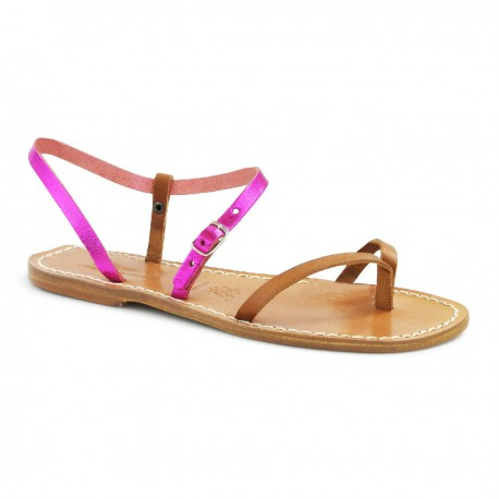 Leather thong sandals for women two-coloured pink and leather