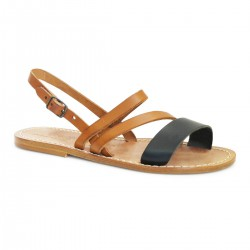 Women's flat sandals handmade in tan and black leather