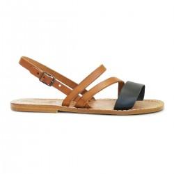 Sandalias planas piel marrón claro y negro mujeres