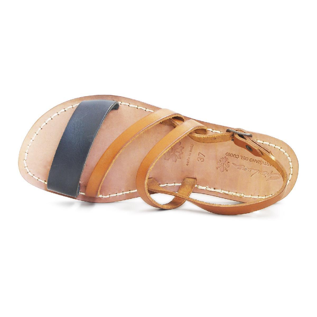 uk availability df292 77c72 Flache Damen-Sandalen aus braunem und schwarzem Leder