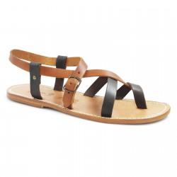 Fray sandalias de cuero dos tonos hechas a mano