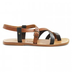 Sandali frate in pelle bicolore fatti a mano