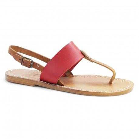 Sandalias planas mujeres de piel dos tonos marrón y rojo